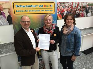 Die Finanzverantwortlichen Frank Firsching (DGB, Bündnissprecher), Marietta Eder (SPD) und Steffi Pfeuffer (DGB)