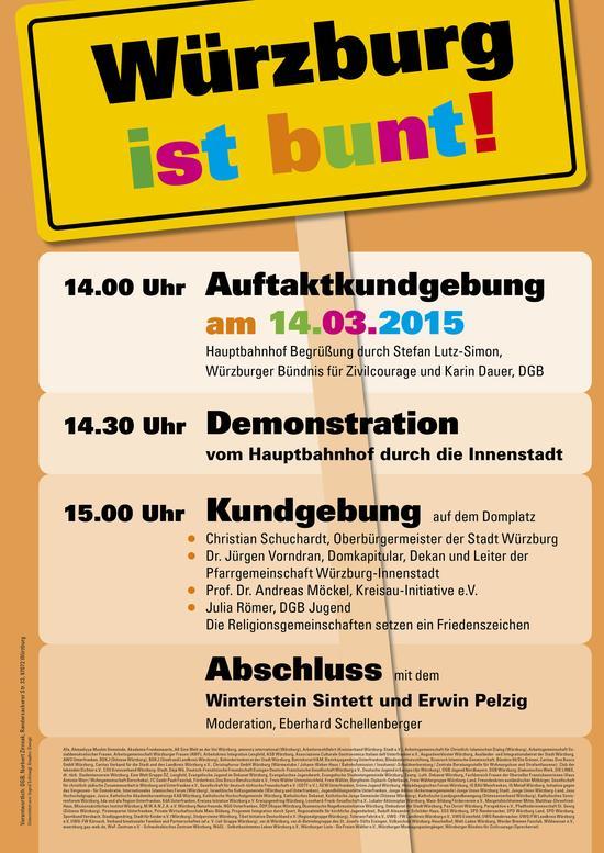 Würzburg ist bunt: Das Programm am 14. März 2015