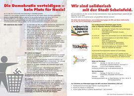 Die nordbayerischen Bündnisse gegen Rechts mobilisieren nach Scheinfeld. Auch der DGB ruft zur Teilnahme an den Aktionen gegen Rechts auf.