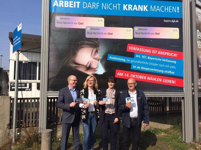 v.l. Frank Firsching (DGB), Marietta Eder (ver.di), Andrea Sicker (IGM), Ottmar Montag (DGB Kreisverband)