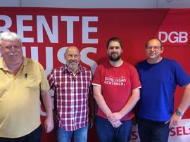 von links: Siegfried Steiner (ver.di), Klaus Hoffmann (IG BAU), Sebastian Braun (IGM), Klaus Schneider (IGM)