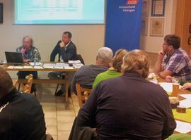 DGB Versichertenberater Peter Schüllermann (links) erklärte anhand mitgebrachter Rententabellen die Funktionsweise der Rentenberechnung. Klar und verständlich informierte er über Begrifflichkeiten wie Rentenpunkt, Wartezeit, oder die abschlagsfreie Rente.