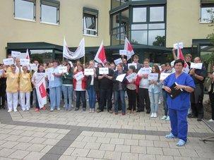 Protest an der Klinik Marktheidenfeld