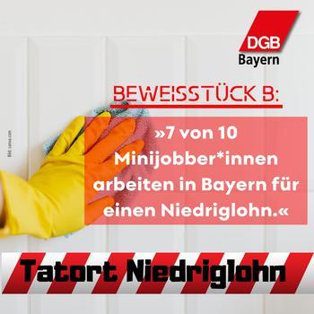 Alleine bei den Minijobs in Bayern sind sieben von zehn dem Niedriglohn zuzurechnen