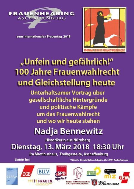 """""""Unfein und gefährlich"""" 100 Jahre Frauenwahlrecht  und Gleichstellung heute am 13. März 2018 um 18.30 Uhr  Martinushaus, Aschaffenburg"""