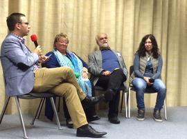 Es unterhielten sich Helga Springer- Gloning (KV Allgäu), Wolfgang Berndt (KV Amberg- Sulzbach) und Brigitte Falk (KV Cham) mit Moderator Christian De Lapuente (DGB Regionssekretär).