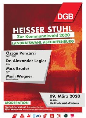 HEISSER STUHL MIT Özcan Pancarci, parteilos / Alexander Legler, CSU / Max Bruder, FDP  / Maili Wagner, Freie Wähler