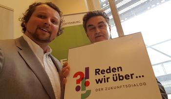 """DGB Kreisverbandsvorsitzender Björn Wortmann traf sich mit Aschaffenburgs Oberbürgermeister Klaus Herzog im Rahmen des DGB Zukunftsdialogs. Themen waren """"Bezahlbarer Wohnraum"""" und die """"Auswirkungen der Digitalisierung auf den Arbeitsmarkt""""."""
