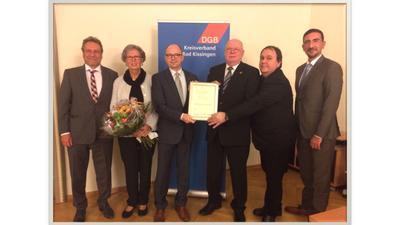 von links: MdB Klaus Ernst, Isolde Töpperwien, Frank Firsching, Manfred Töpperwien, Gehard Klamet, Sinan Öztürk