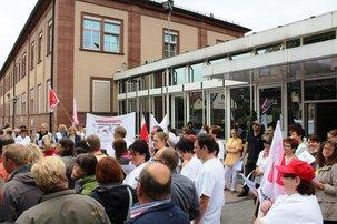 Protest an der Klinik in Lohr