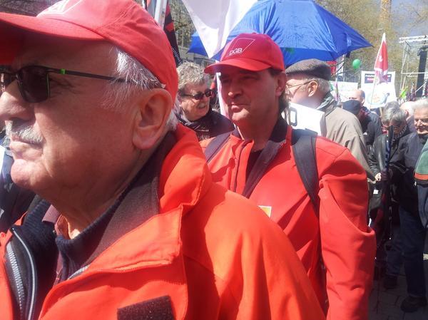Die Metaller Werner Nawarotzky und Thomas Seubert aus Würzburg