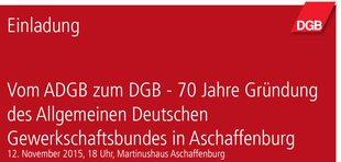 Flyer 70 Jahre Gründung ADGB in Aschaffenburg