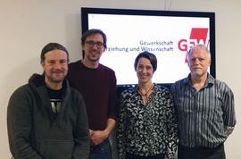 Bildungsgewerkschaft unter neuer Leitung: Vorsitzende Monika Hartl (rechts), Stellvertreter Thorsten Grimm (links) Phillip Przynitza und Peter Adler.
