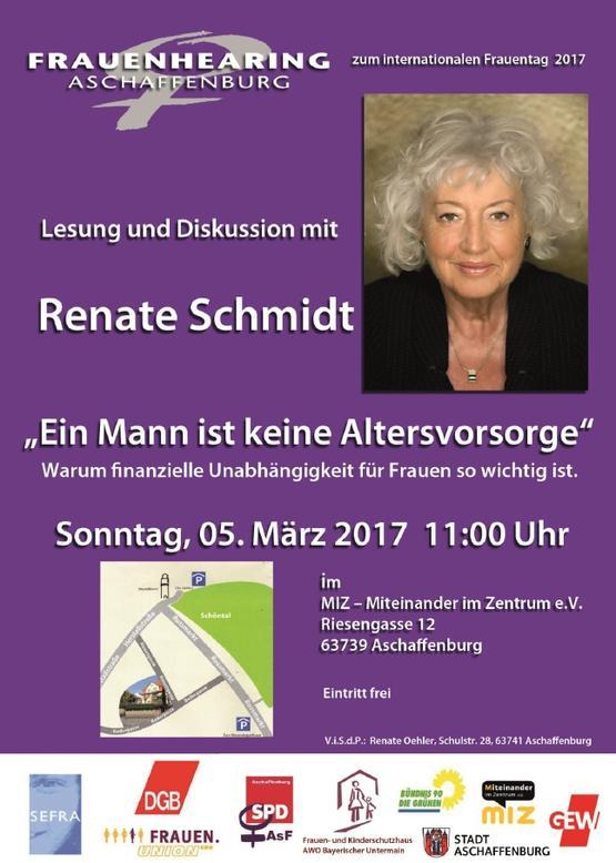"""Lesung mit Bundesministerin a.D. Renate Schmidt aus ihrem Buch  """"Ein Mann ist keine Altersvorsorge"""""""