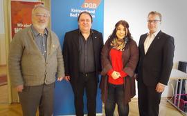 von links: Pater Matthias Doll; Gerhard Klamet Vorsitzender KV KG; Victoria May stellv. Vorsitzende KV KG; Daniel Friedrich, Gewerkschaftssekretär IG Metall Schweinfurt