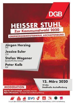 Heißer Stuhl mit Jürgen Herzing SPD / Jessica Euler CSU / Stefan Wagener Bündnis90/Die Grünen / Peter Kolb FDP