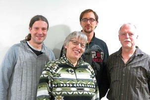 Thorsten Grimm, Christiane Hirsch-Holzheimer, Philipp Przynitza und Peter Adler (v.l.n.r. ) stehen bereit für die gewerkschaftliche Vertretung der Beschäftigten im Bildungswesen am bayerischen Untermain