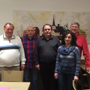 v. links: Herbert Greubel, Xaver Kerber, Gerhad Klamet, Ernst Ziegler, Christel Sauer