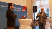 Moderatoren: Benedikt Borst, Saale Zeitung und Frank Firsching, DGB Regionsvorsitzender (v. l.)